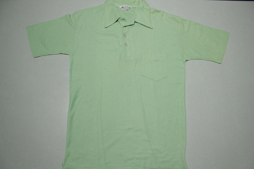 Kmart Vintage 70s Green Single Stitch Pocket Golf Polo Shirt