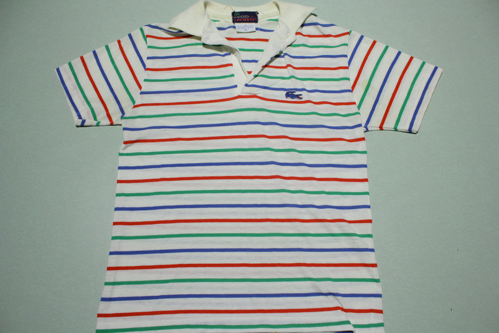 Izod Lacoste Alligator Vintage 80s Single Stitch Striped Polo Shirt AWESOME