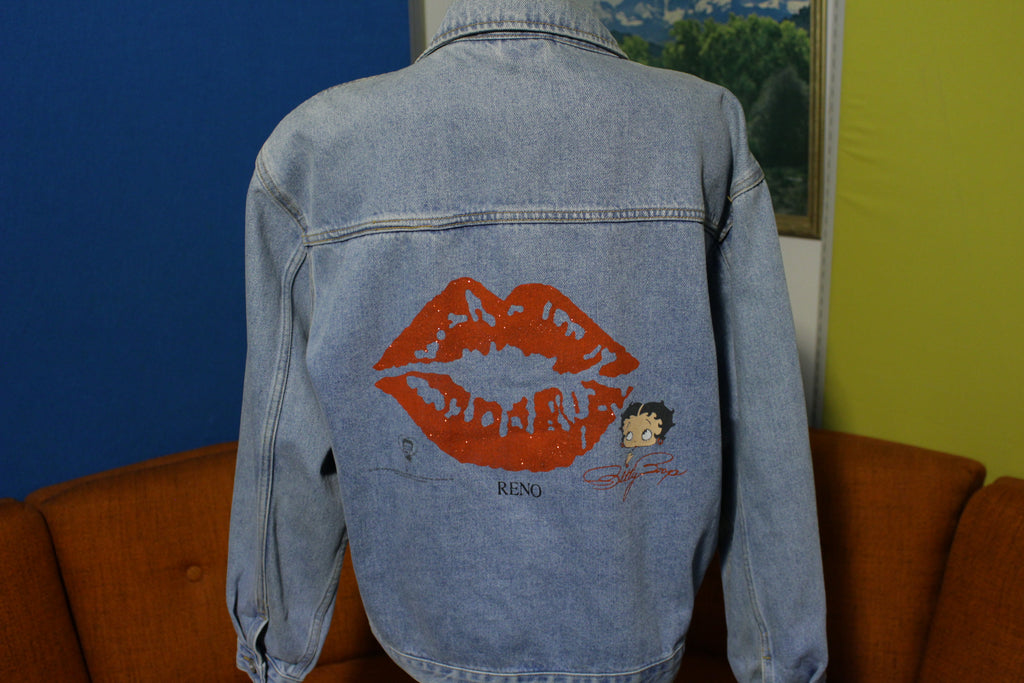 Betty Boop Red Sparkle Lips Reno Vintage Diamond Dust 90's Trucker Jean Jacket