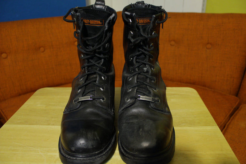 Harley Davidson Leather Motorcycle Biker Side Zip Black Boots 91028 Mens Sz 10