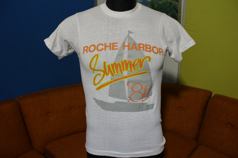 Roche Harbor Summer '85 Vintage Sailboat 80's Screen Stars T-Shirt 50/50