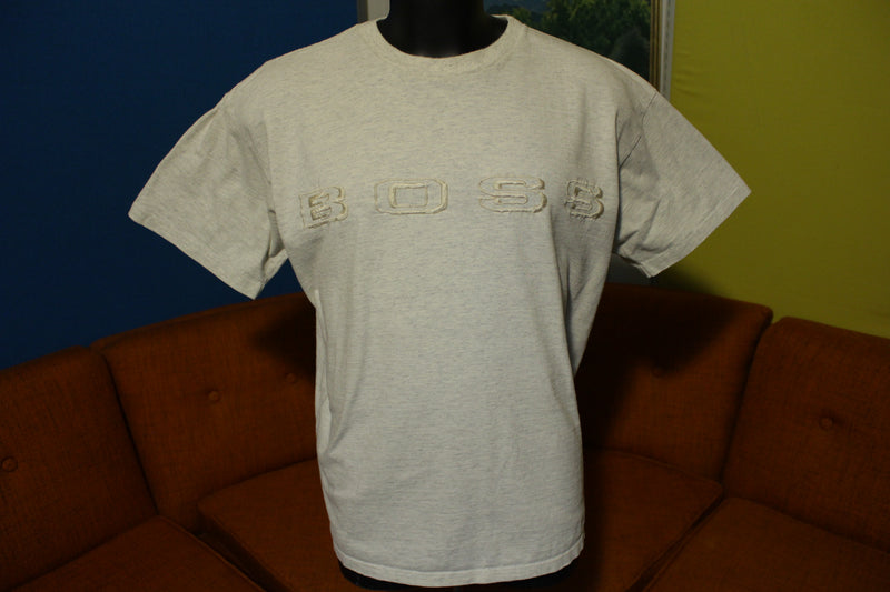 Hugo Boss Vintage 90's Embroidered Spell Out Logo T-Shirt Made in USA