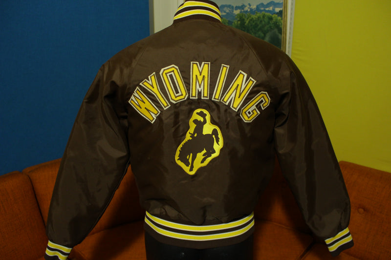 Wyoming Brown Gold Rodeo Vintage 80s Satin Bomber Jacket Quilt Lined