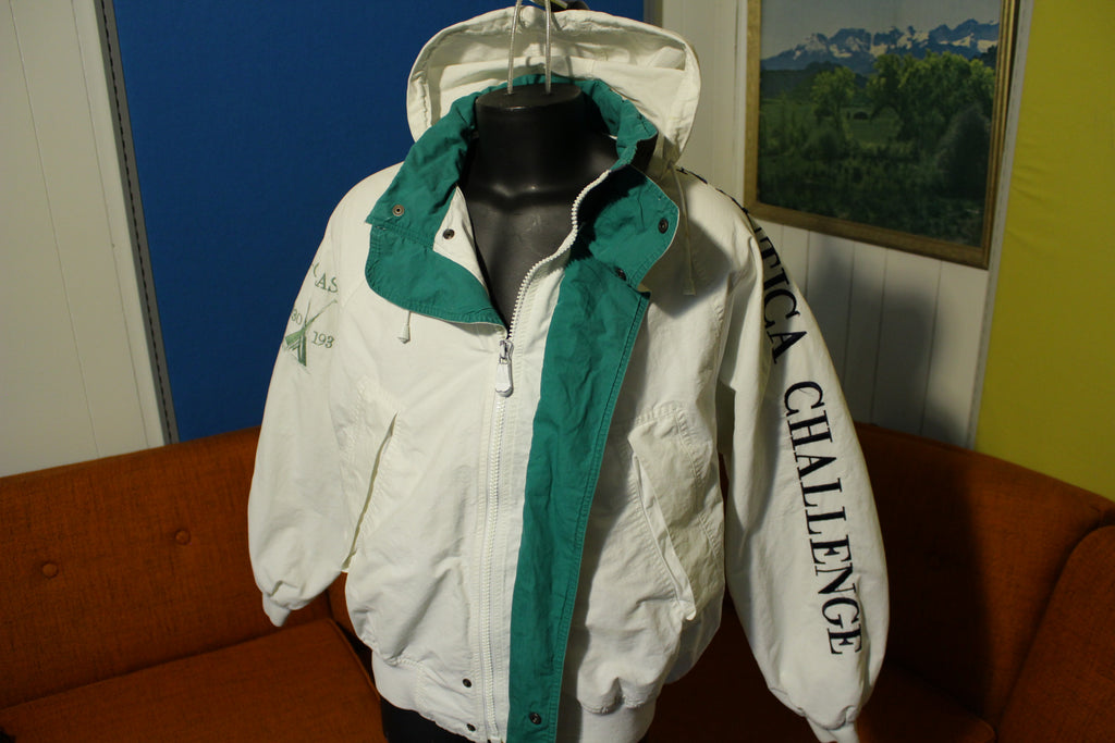 Nautica Challenge Spell Out Color Block Vintage 90s J-Class White Green Blue Jacket