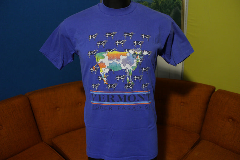 Vermont Udder Paradise Rainbow Cows 1988 80s Hanes Fifty USA T-Shirt