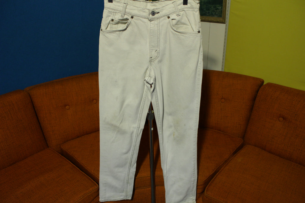565332fe371 Levis 505 Rare 80's Silver Tab USA Made White & Black Thread Student Jeans  29x29