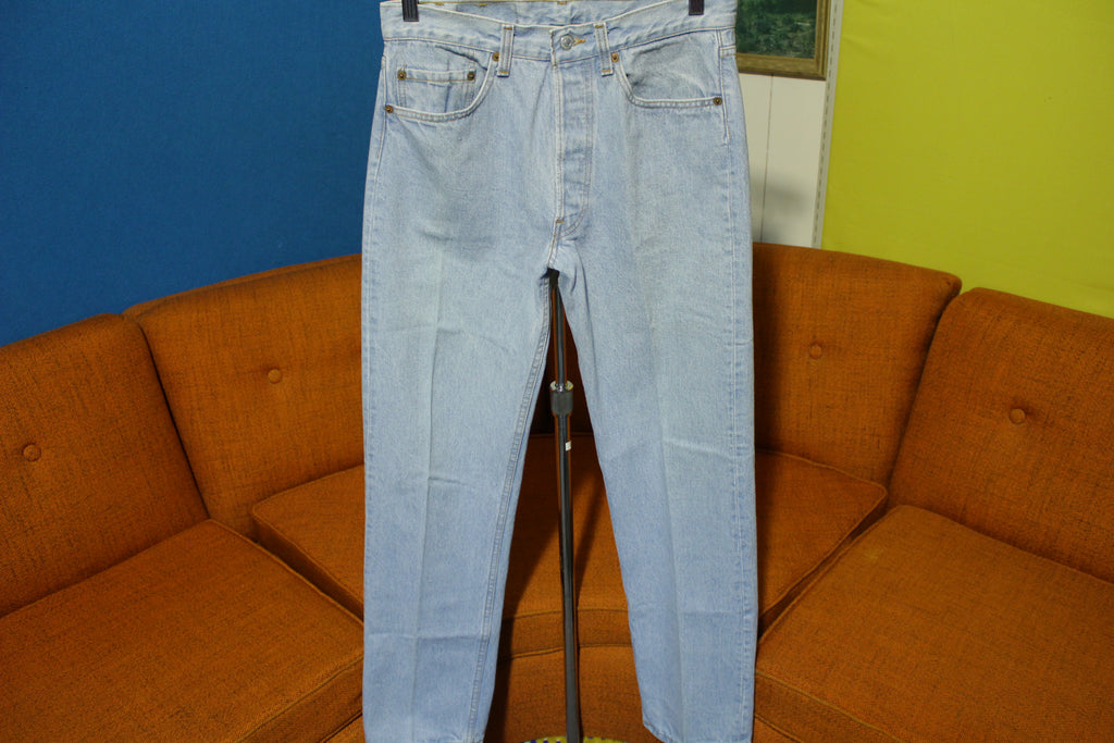 Levis 501 Button Fly 80's Red Tag Made In USA 1980's Light Wash Jeans 30x31