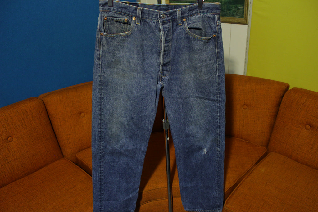 27368faff07 Levis 501 Button Fly 80's Red Tag Made In USA 1980's Medium Wash Jeans 34x27