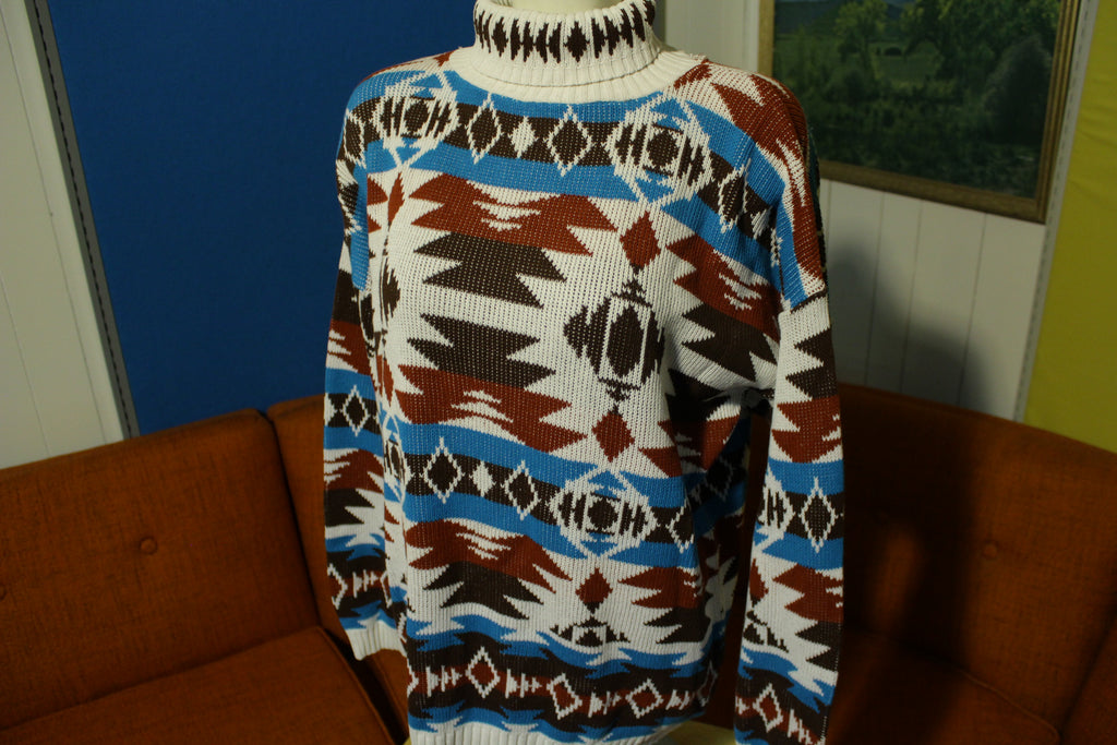 Carriage Court Southwestern Aztec Made In USA Turtle Neck 80's Sweater