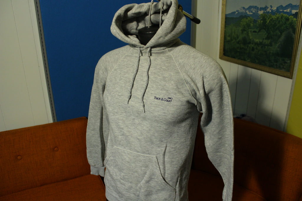 Track & Court 80's Heathered Gray Vintage Hooded Sweatshirt Tennis Hoodie