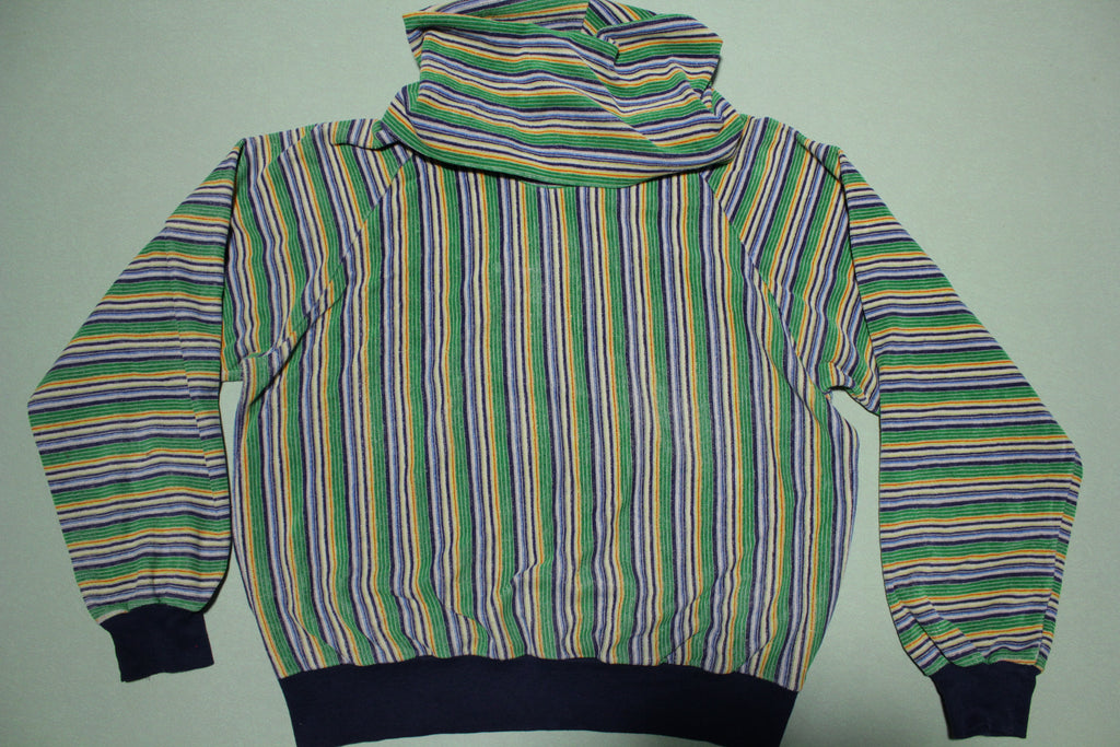 Topic Knits Vintage 70s Velour Striped Turtle Neck Long Sleeve Womens Shirt