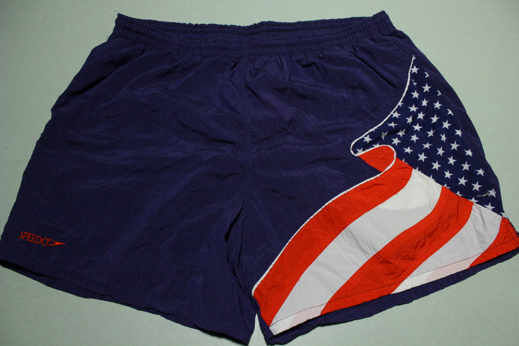 Speedo USA Flag Vintage 1990s Swimming Mesh Lined Shorts With Pockets