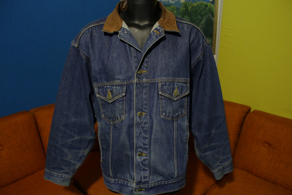 Marlboro Country Store Vintage Blue Denim Leather Collar Jean Jacket Size XL