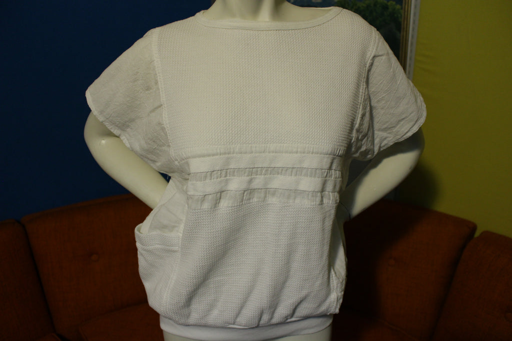 Bay Club Vintage 80's White New Wave Pocket Women's Top Sleeveless Shirt