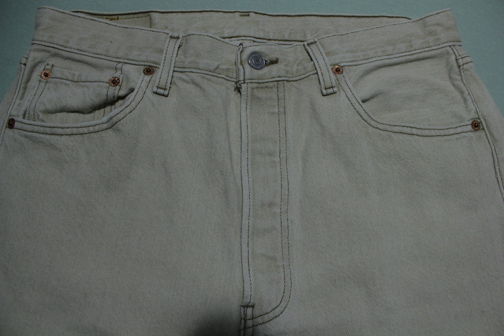 Levis 501XX Vintage 90s Button Fly Brown Tan Made in USA Denim Jeans