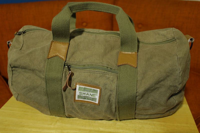 Shane Jeans Wear 80's Military Green Forest Duffle Gym Bag Vintage 1980's Carry Canvas