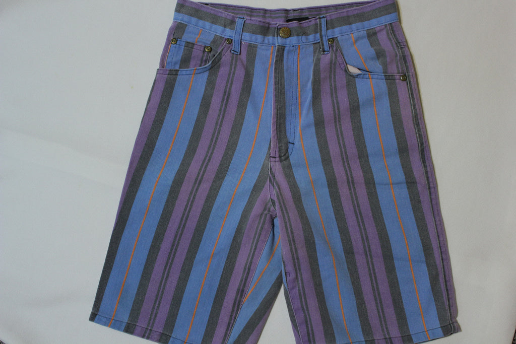 Urban Attitude Vertical Stripe Denim 90's Hip Hop Shorts Vintage Rap 60's Colors