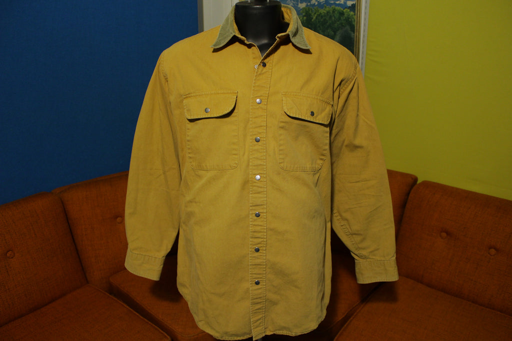 LL Bean Made In USA Vintage Brown Canvas Long Sleeve Cotton Snap Work Shirt