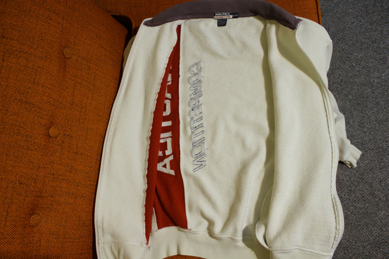 Nautica Competition Spell Out Color Block Vintage 90s Patch White Jacket Sweatshirt