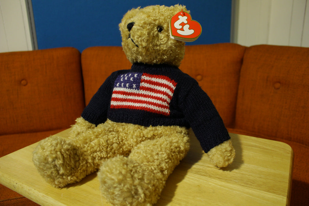 TY Curly 1990 Rare Beanie Baby Ralph Lauren USA Flag Sweater Plush Teddy Bear