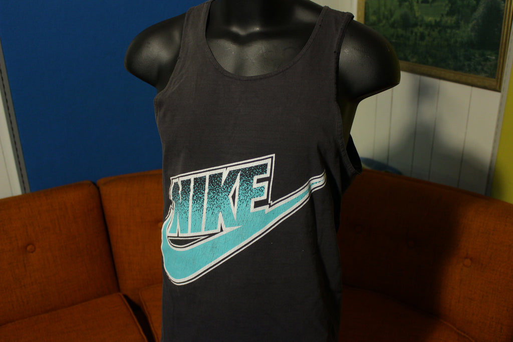 Nike Gray Tag Black and Green Vintage 80's 90's Made In USA Tank Top Shirt