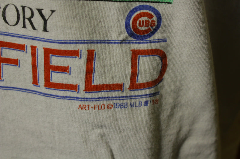 Wrigley Field Lights Chicago Cubs 1988 Vtg 80's Sports History T-Shirt MLB
