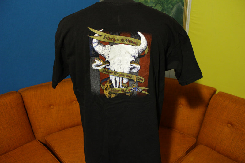 Sturgis S. Dakota 1990 50th Golden Anniversary Biker Rally Vintage T-Shirt