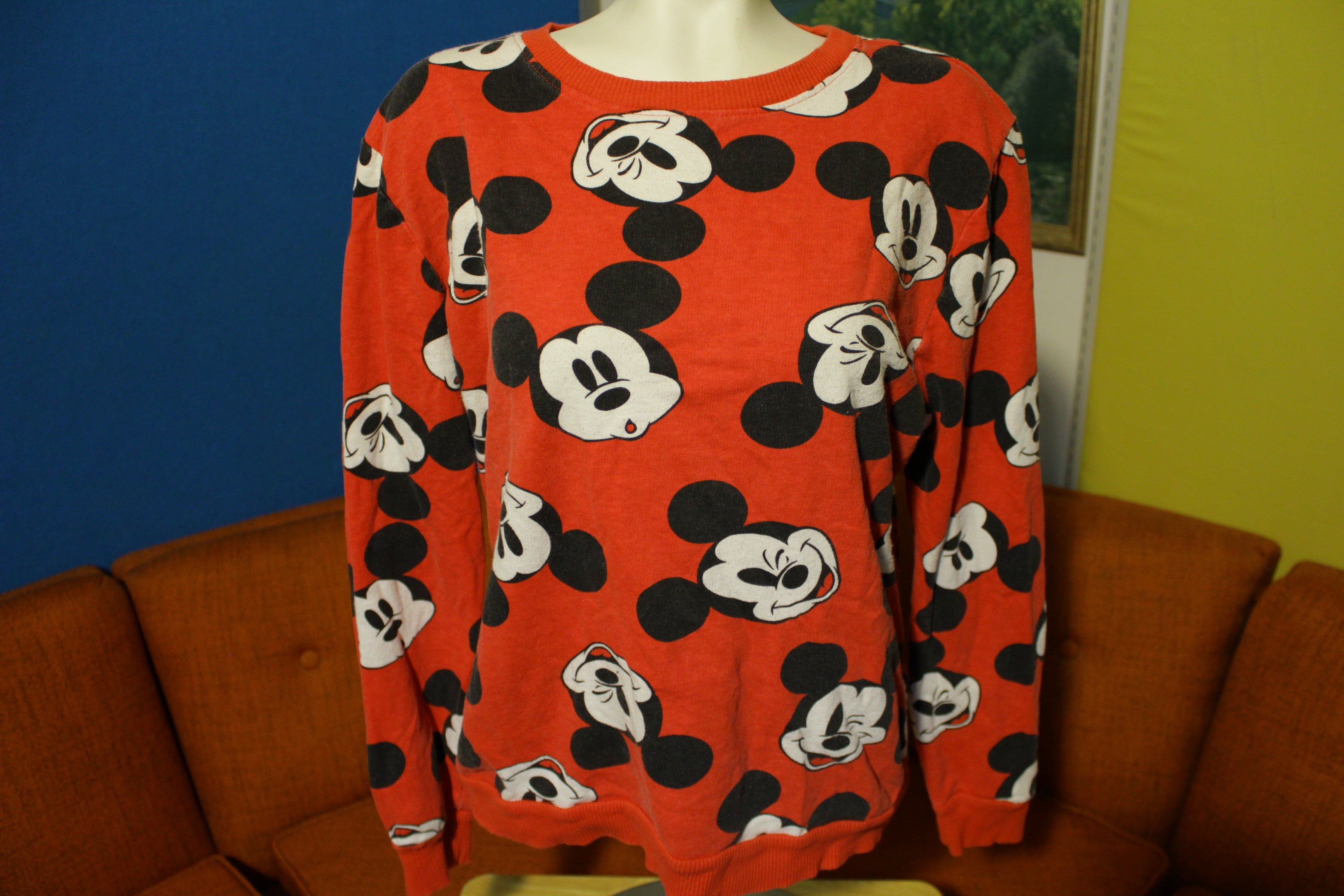 Mickey Mouse Disney All Over Print Red Vintage Funny Faces Cartoon Sweatshirt.