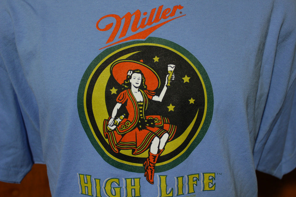 Miller High Life Retro Anna Moon Lady Blue New With Tags NWT T-Shirt VTG