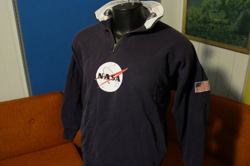 Nasa Vintage Kennedy Space Center USA Zip Medium 80's Pullover Sweatshirt