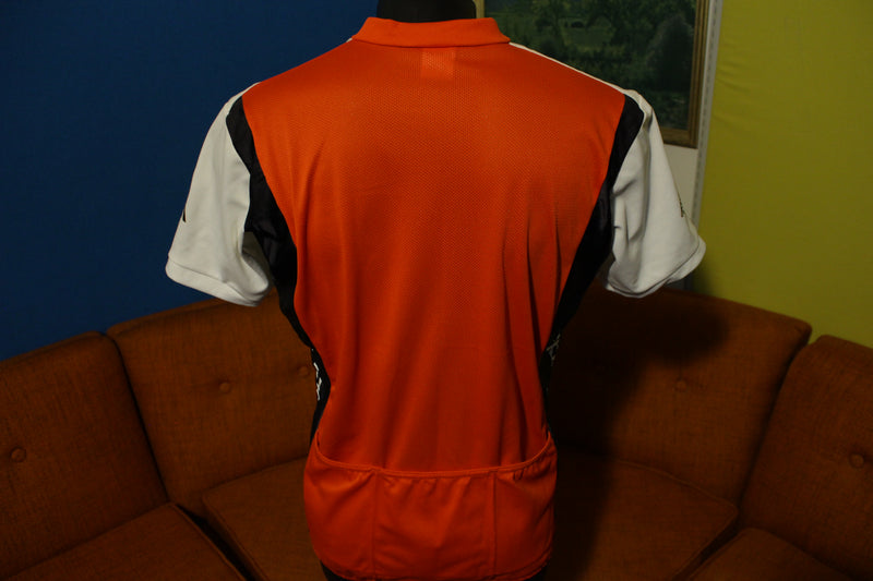 Cannondale Vintage Made in USA Zip Black Red White Jersey Short Sleeve Shirt.