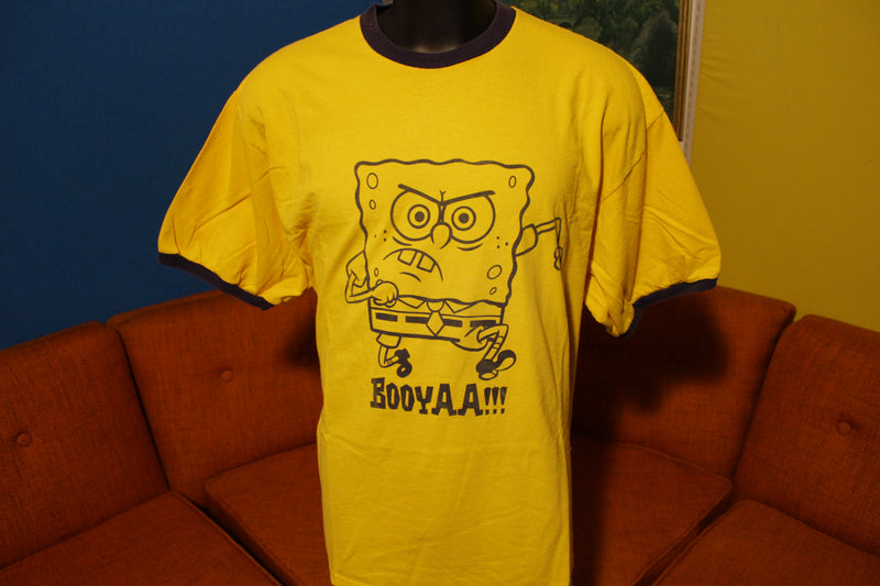 SpongeBob Vintage Booyaa Ringer Yellow Nickelodeon Squarepants 2XL T-Shirt