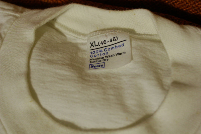 Sears 100% Combed Cotton Plain White Blank T-Shirt Under Shirts Vtg 70s Lot of 3
