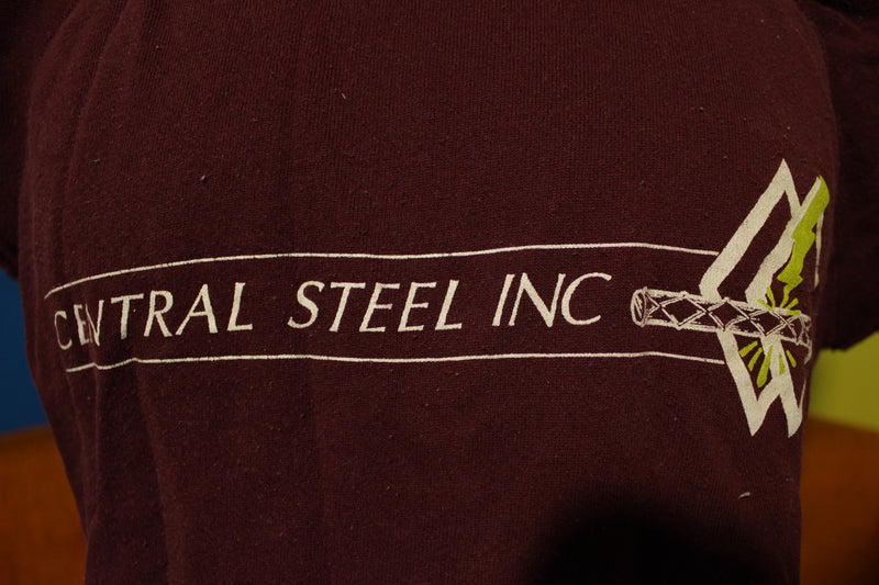 Iron Worker Central Steel Inc Cut Off Sleeve Muscle Sweatshirt T-Shirt 80's USA