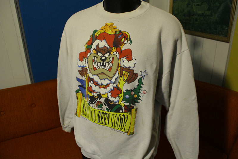 TAZ Tazmanian Devil 1995 Warner Have You Been Good Santa 90s XMAS Sweatshirt