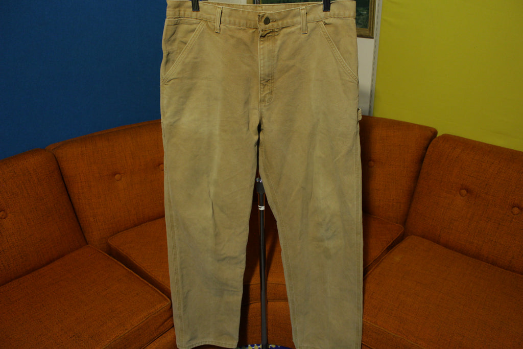 Carhartt B11 BRN 36x31 Washed Duck Work Pants Brown Canvas Carpenter Loop