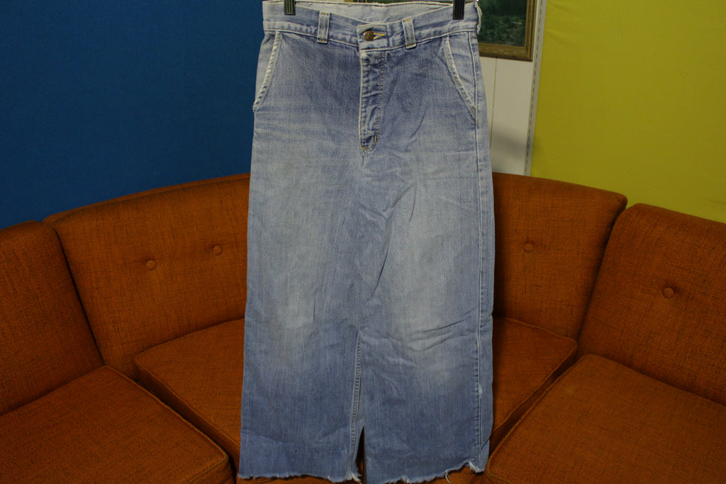 Hash Jeans 60's 70s Bell Bottom Flare Denim Pants Faded with Talon 42 Zipper