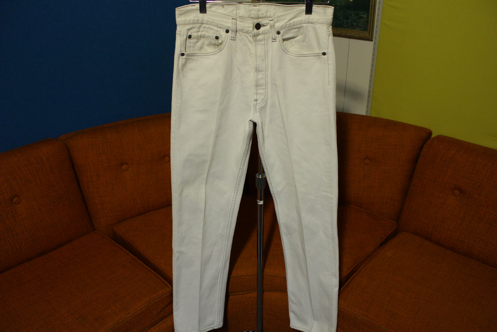 Levis 501 Rare 80's Red Tab USA Made White & Gray Thread Jeans 30x31