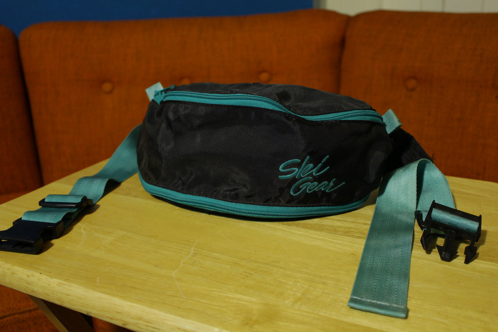 Ski Gear Vintage Zoom 90's Black Green Fanny Pack Waist Bag Zip Pockets