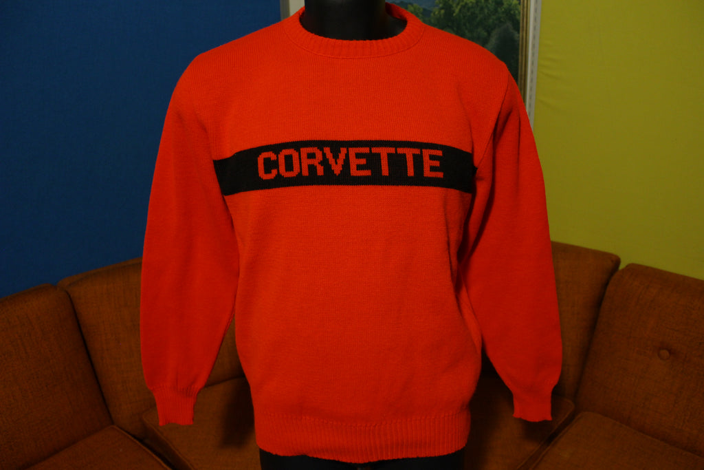 Corvette 3 Strikes Red Black 80s 1985 Vintage Sports Car Sweater New NWOT