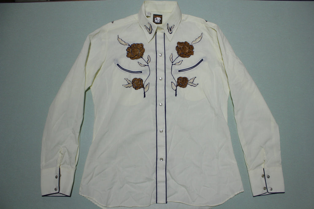 Karman Vintage 80s Pearl Snap Embroidered Button Up Western Shirt