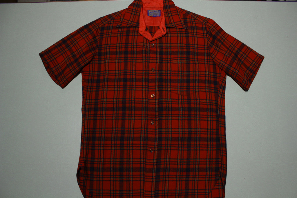 Pendleton Lodge Single Pocket Short Sleeve Red Lumberjack Plaid 60s Button Up Shirt