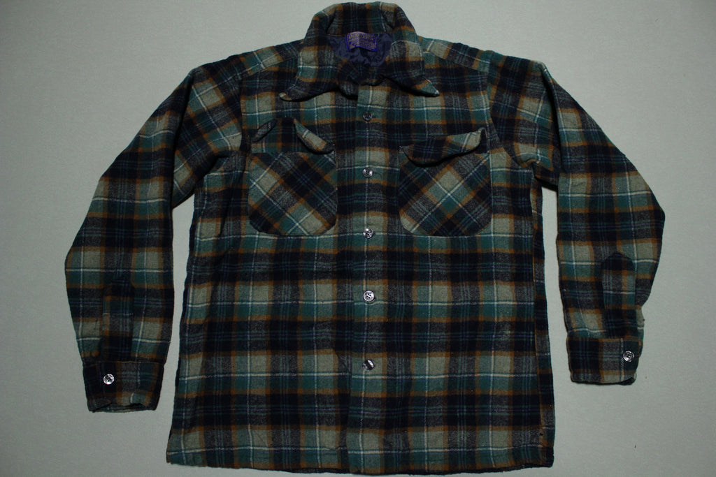 Pendleton Board 2 Pocket Long Sleeve Lumberjack Plaid 60s Button Up Flannel Shirt