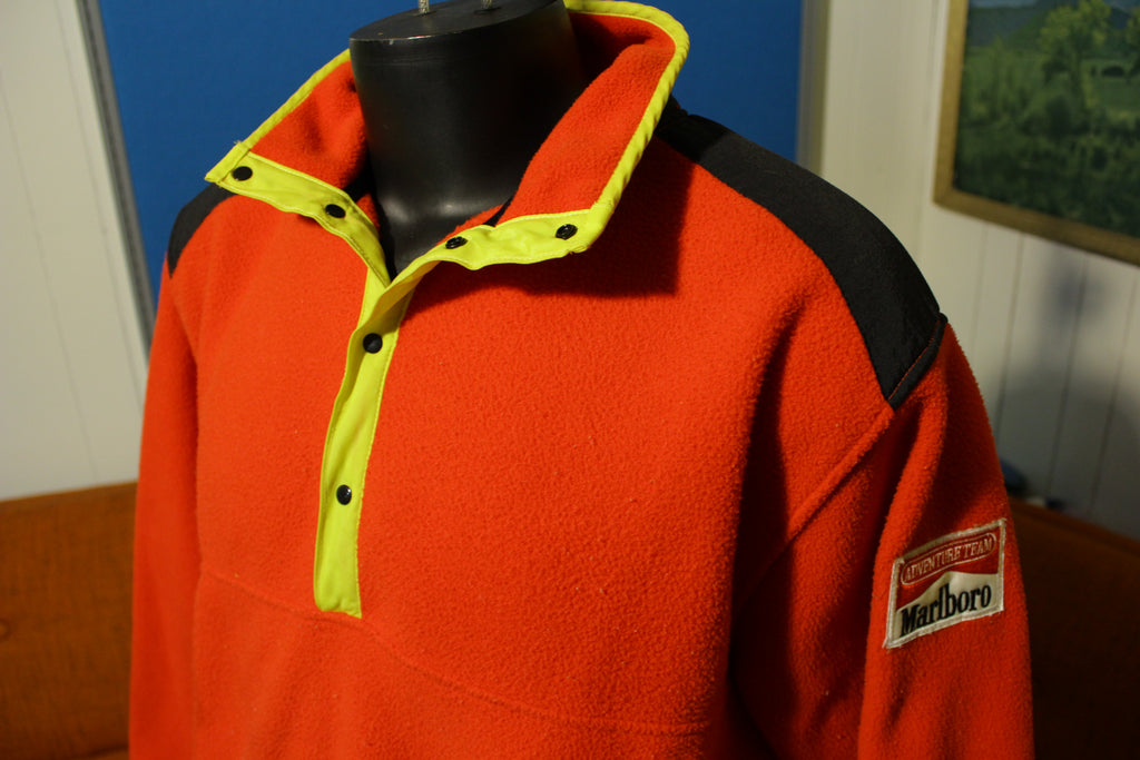 Marlboro Adventure Team Vintage Pullover Snap Fleece Red Men's Large Jacket