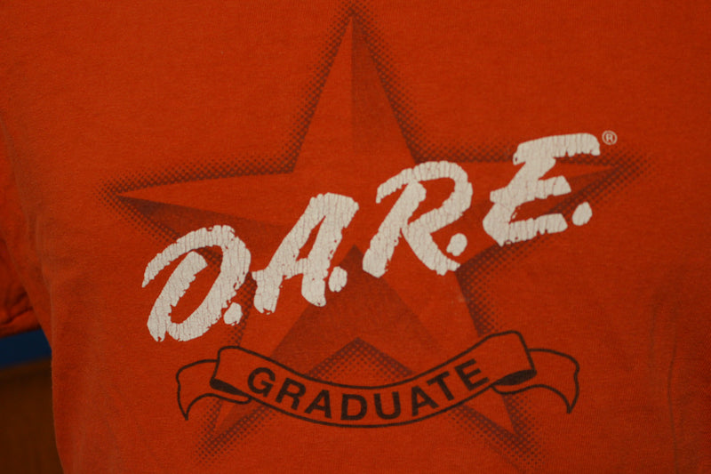 DARE To Resist Drugs & Violence Graduate Vintage Spellout T-Shirt RED