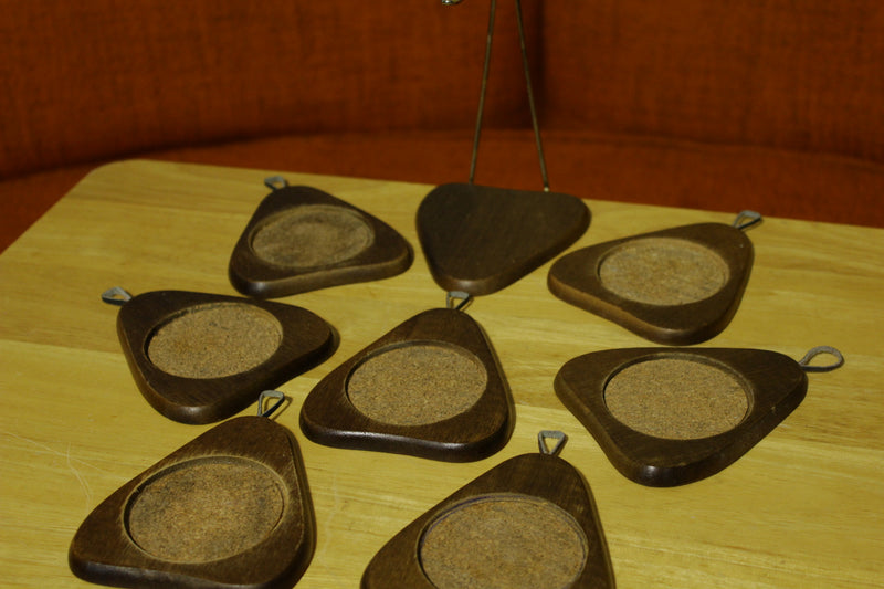 Pear Avocado Shape Vintage 70s 80s Wooden Coasters With Stand & Cork Insert