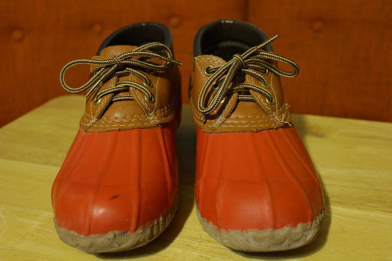 Eddie Bauer Women's Duck Low Rubber Rain Boots Shoes Red Tan Size 8