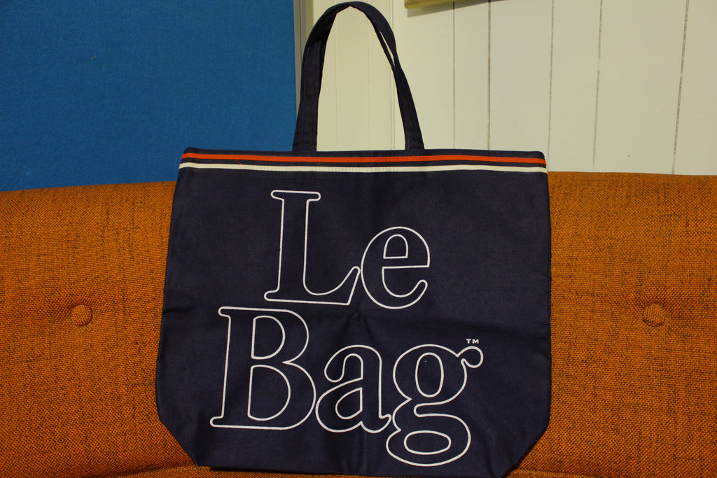 Le Bag Vintage 70's Canvas Large Font Shopper Beach Overnight Shopping Tote