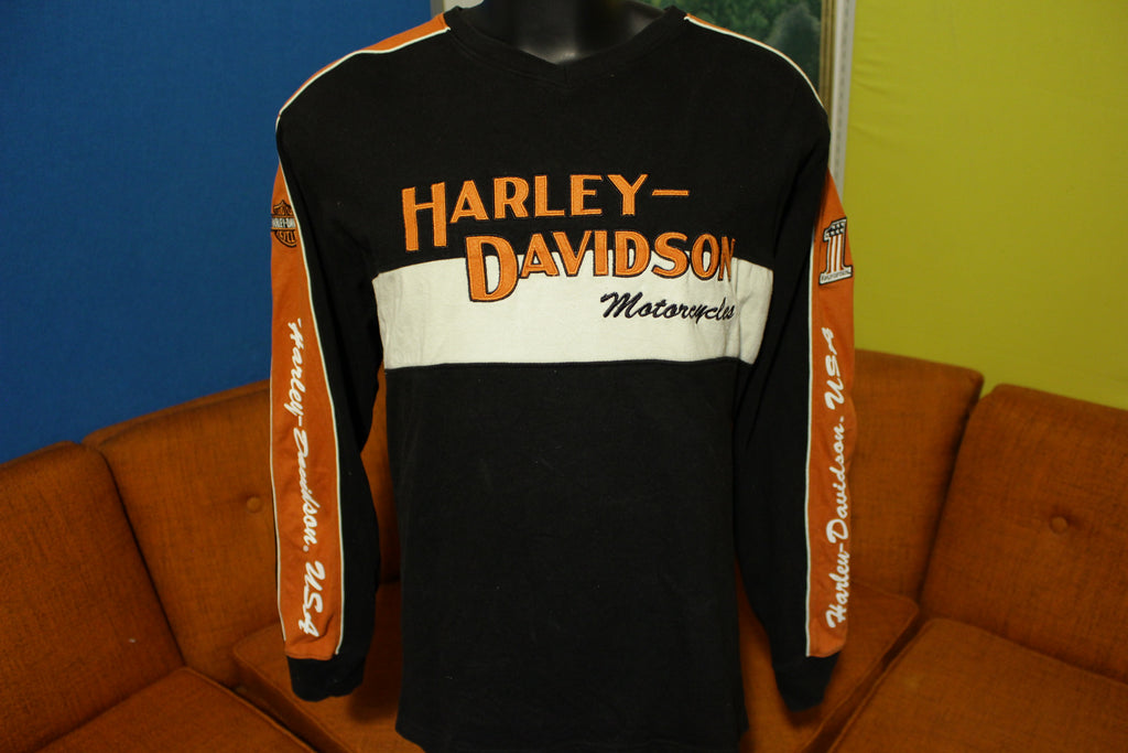 Harley Davidson Motorcycles Long Sleeve Shirt #1 Rubber Foam 3D Lettering