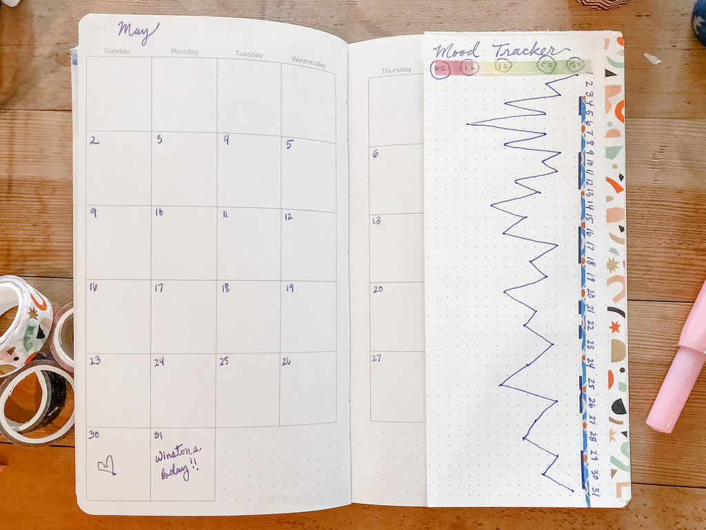 Monthly planner page with mood tracker taped onto edge of page